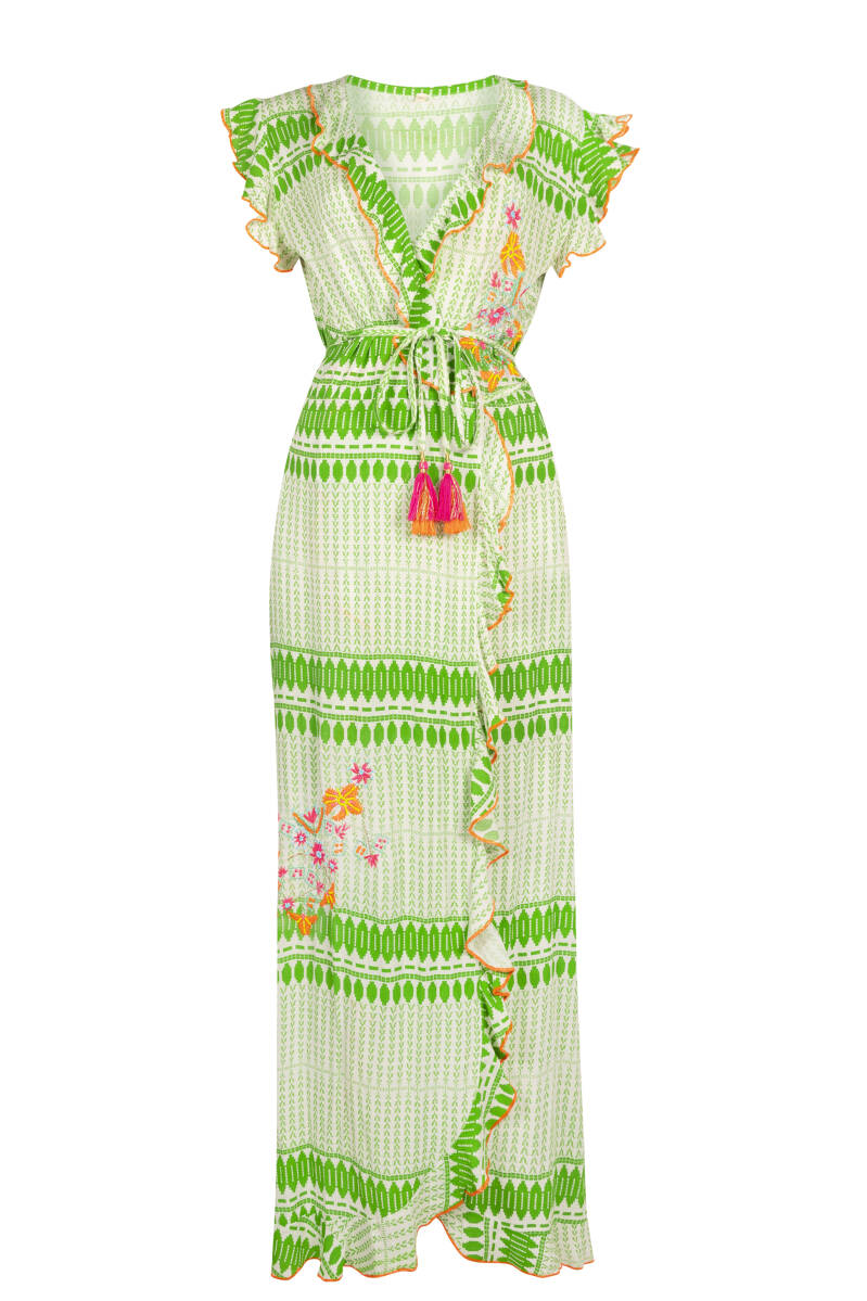 Wrap Dress long green/white Place du Soleil