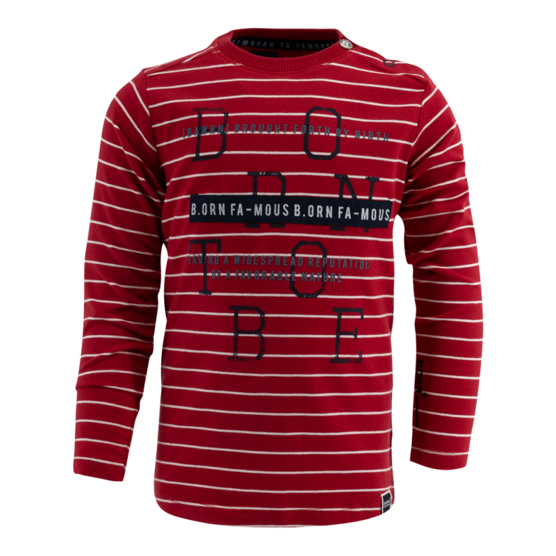 -20% Born to be Famous Rood gestreept shirt