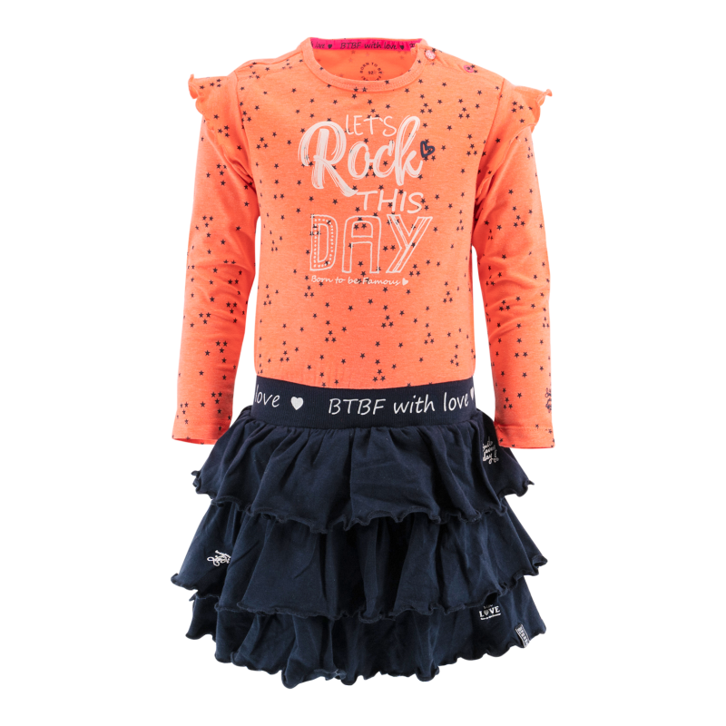 -50% Born to be Famous Oranje jurk Rock this day