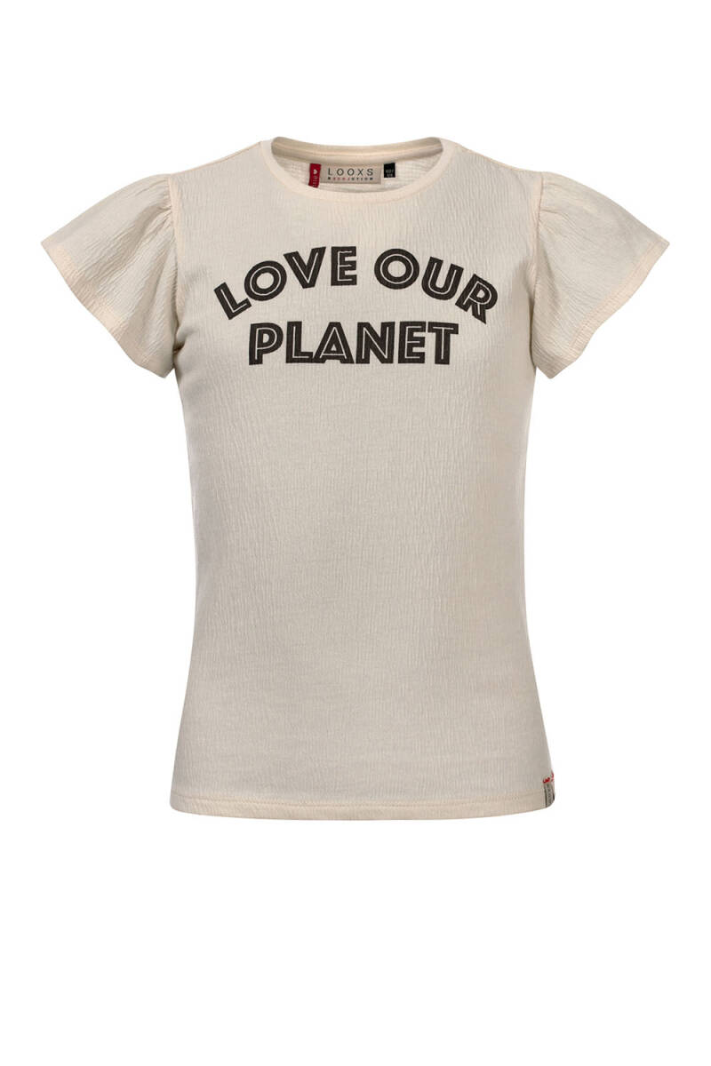 -50% Looxs Offwhite t-shirt Love our planet