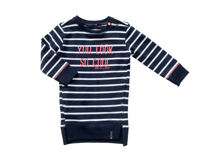 -50% Born to be Famous Gestreepte sweaterdress
