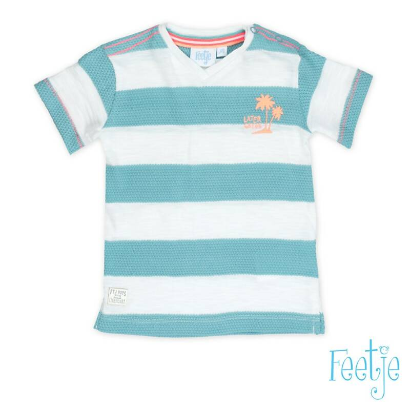 -50% Feetje T-shirt k/m streep wit/mint Pool party