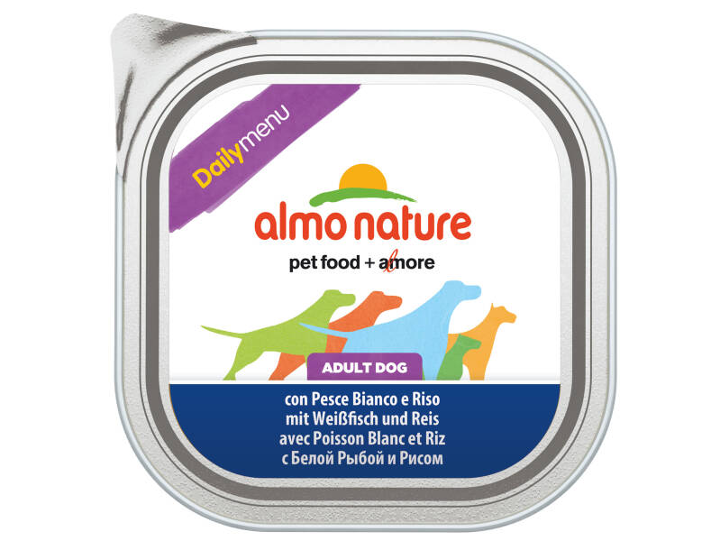 Almo nature daily dogs witte vis & rijst (9X300G)