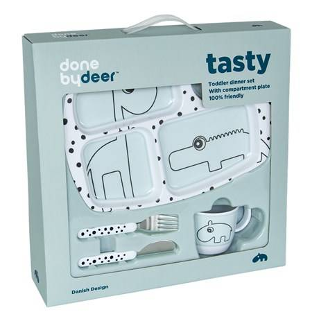 Done by deer dinner set happy dots blauw