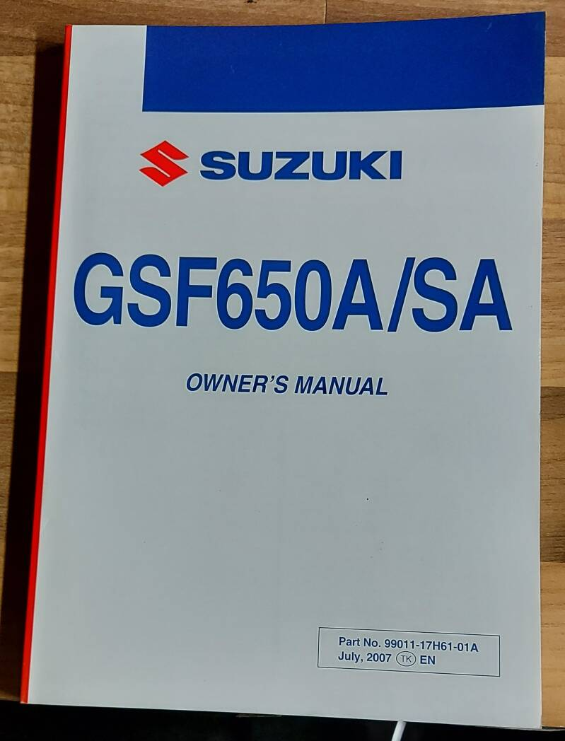 Owner's manual - 9901117H6101A - GSF650A/SA
