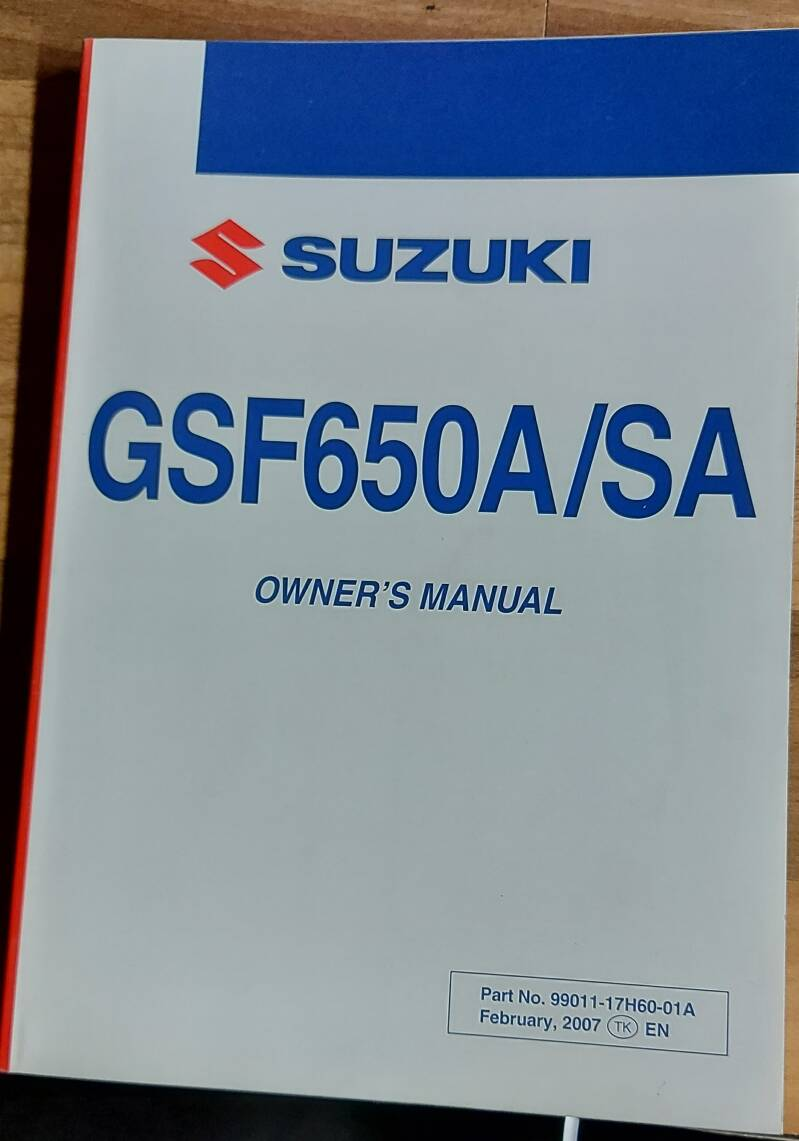 Owner's manual - 9901117H6001A - GSF650A/SA