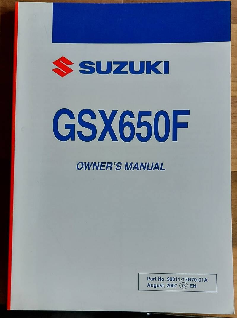 Owner's manual - 9901117H7001A - GSX650F
