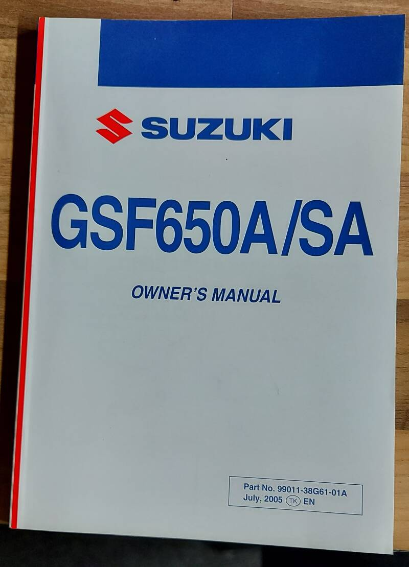 Owner's manual - 9901138G6101A - GSF650A/SA