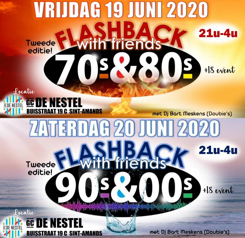 Duoticket All-in FLASHBACK WITH FRIENDS 70's-80's en 90's-00's