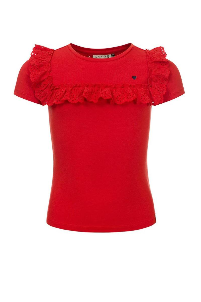 ROOD T-SHIRT MET BRODERIE ANGLAISE