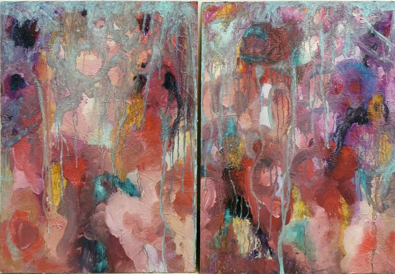 Olieverf op canvas, 2 x 50 x 70 cm