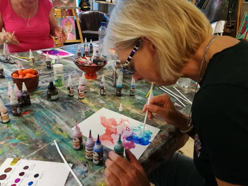 Workshop alcohol inkt painting