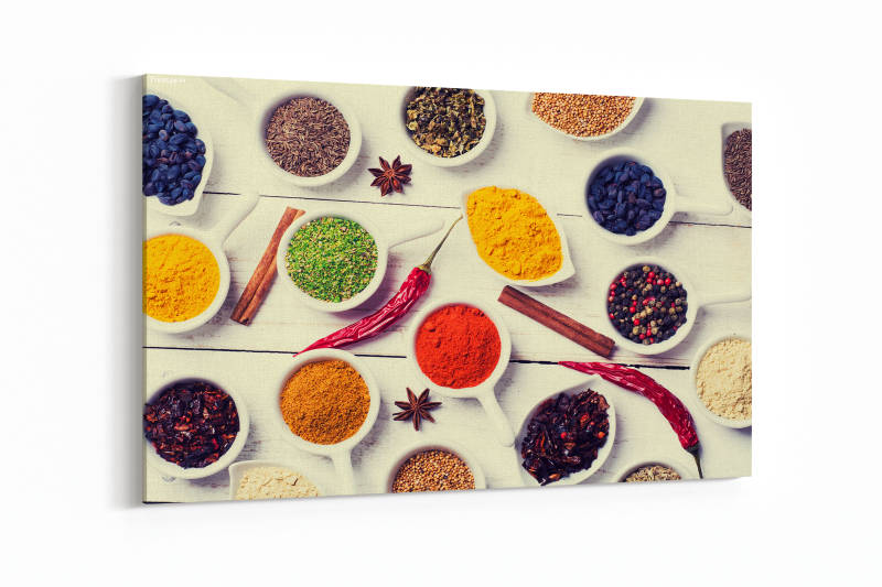 Spices and herbs in ceramic bowls