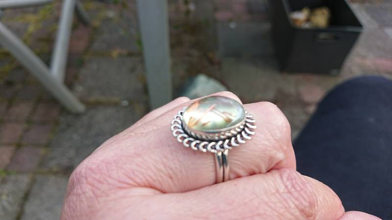 Ring Rutielkwarts in zilver maat 20