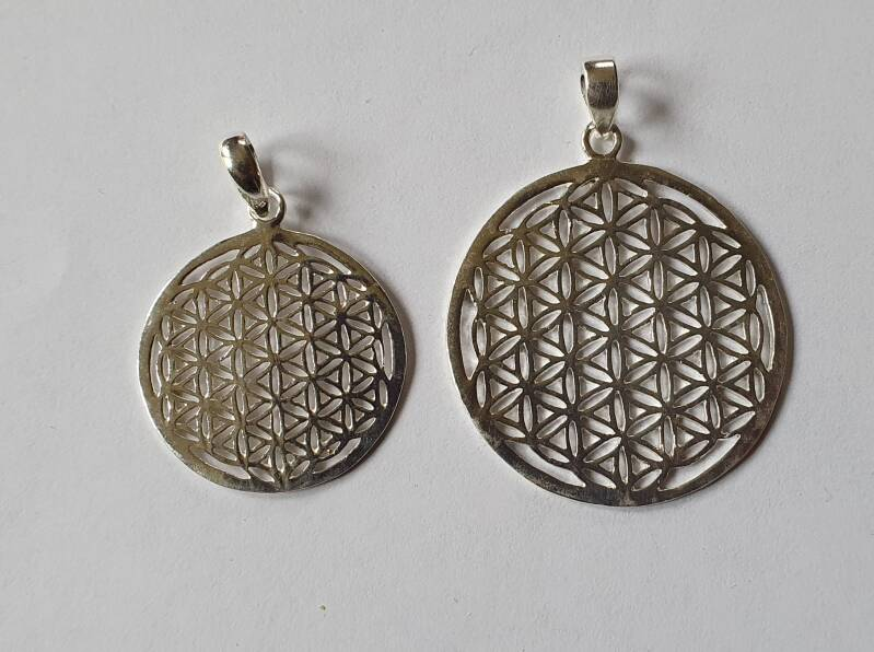 Zilver Flower of life hanger 2,5 cm of 3,5.cm Silber