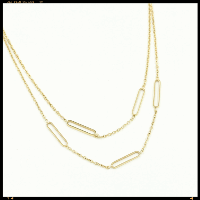 Necklace Double Layered Bars