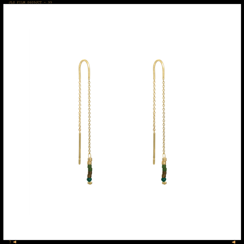 Earrings Threader Green Stones