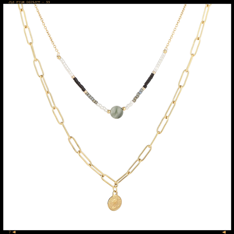 Necklace Double Layered Coin Black