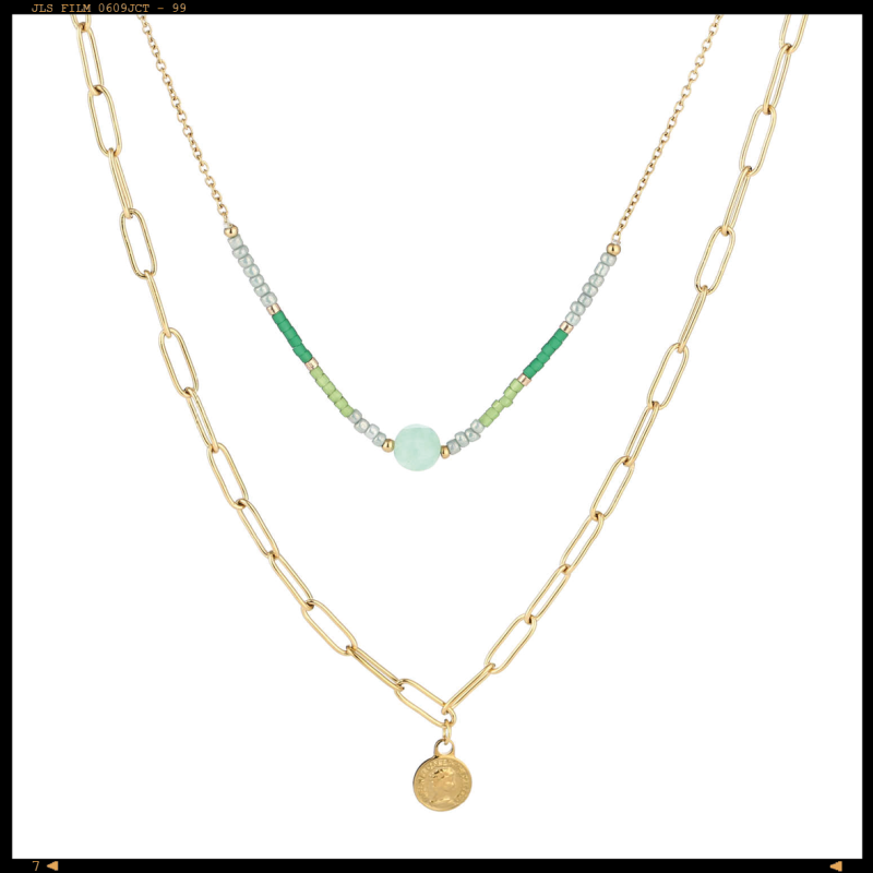 Necklace Double Coins Green