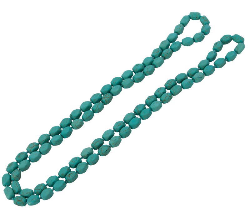 Turkoois nugget collier 120 cm in Charleston lengte.