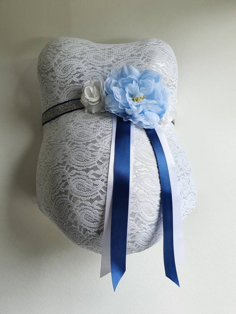 Baby Belly Forever - Classy blue & White flowers