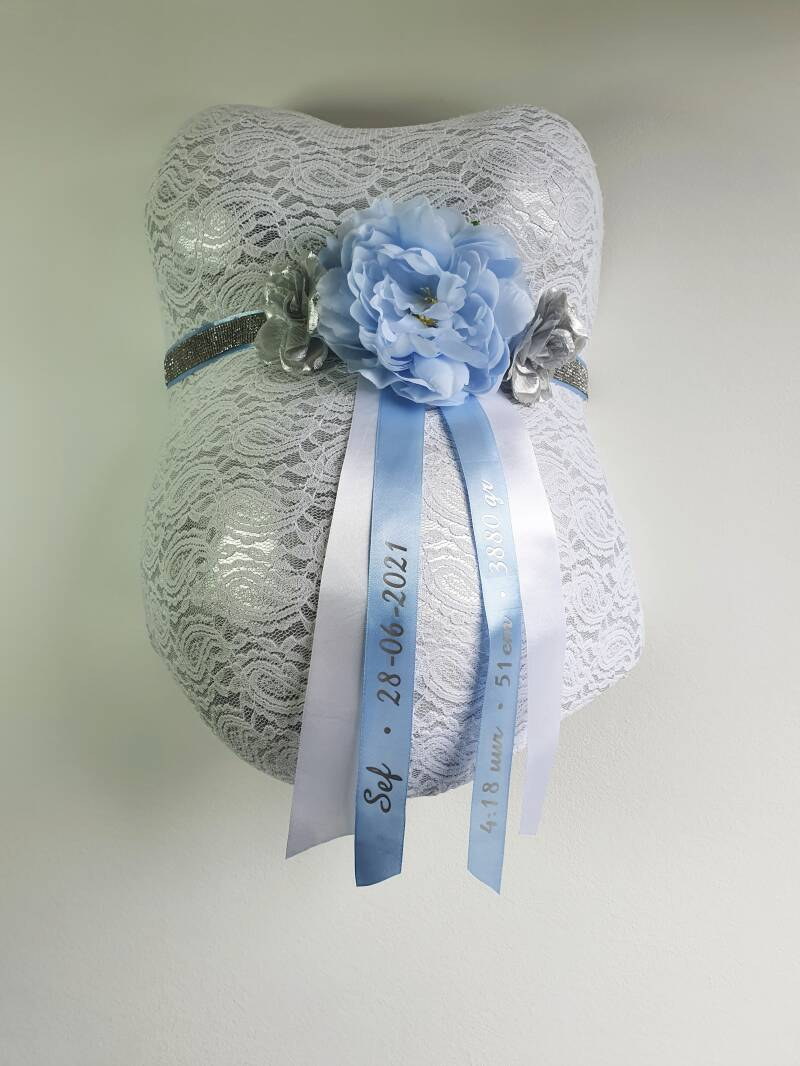 Baby Belly Forever - Shiny baby blue & Silver flowers