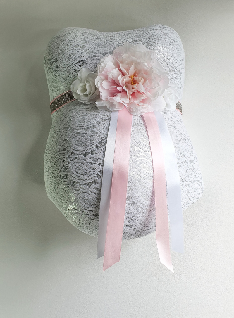 Baby Belly Forever - Shiny baby pink & White flowers