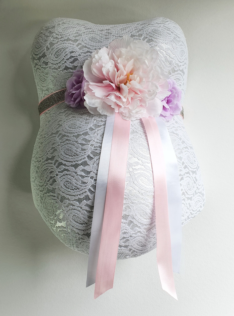 Baby Belly Forever - Shiny baby pink & Purple flowers