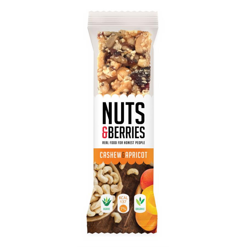 Nuts&berries energy bar abrikoos en cashew 30gr