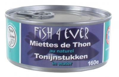 Fish 4 ever tonijnstukken in water 160gr