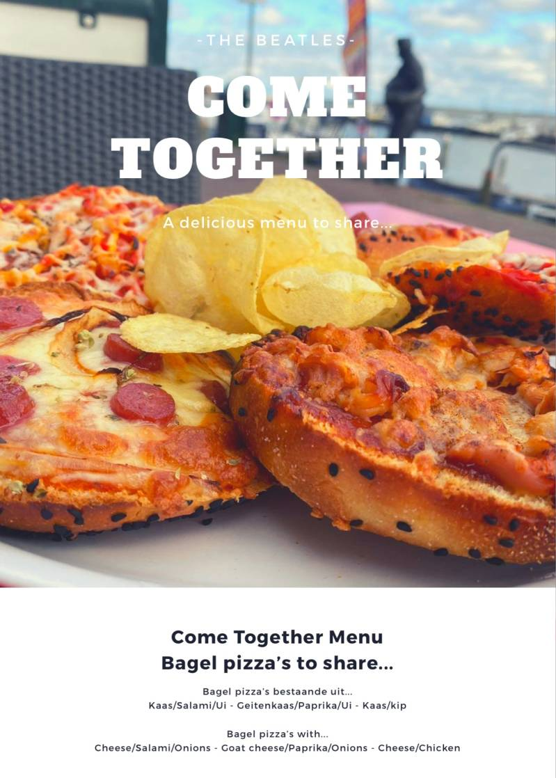 Come Together Bagel pizza plate to share!!