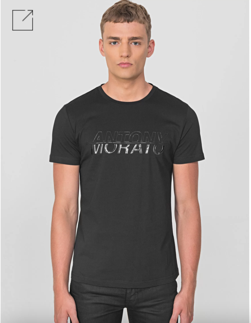 ANTONY MORATO REGULAR-FIT T-SHIRT IN 100% STRETCH COTTON WITH GLOSSY PRINT ZWART