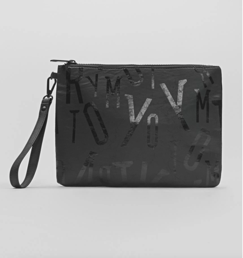 ANTONY MORATO FAUX-LEATHER POUCH WITH ALL-OVER PRINT ZWART