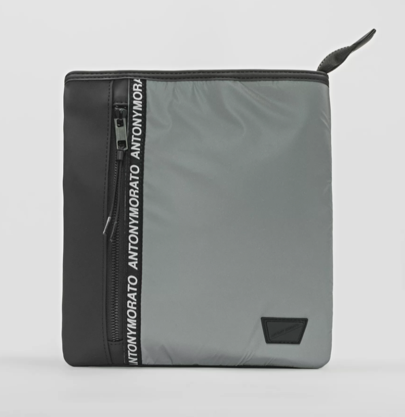 ANTONY MORATO NYLON MESSENGER BAG WITH SOFT-TOUCH REFLECTIVE DETAILS SILVER