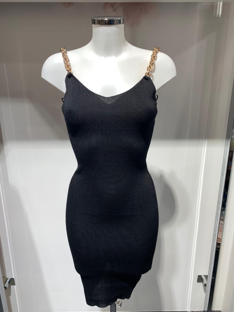 BLACK DRESS WITH GOLD CHAINS