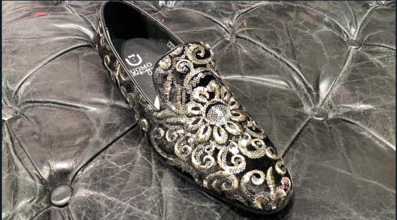 LOAFERS PARIS BLACK WITH FLOWERS