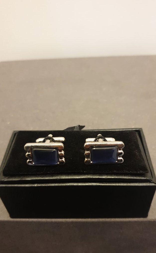 CUFFLINKS PARIS SILVER/BLUE