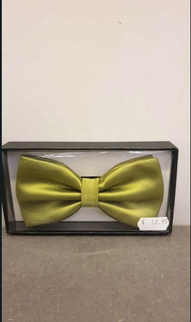 POLYESTER BOW TIE WITH HANDKERCHIEF GREEN, WHITE & BLACK