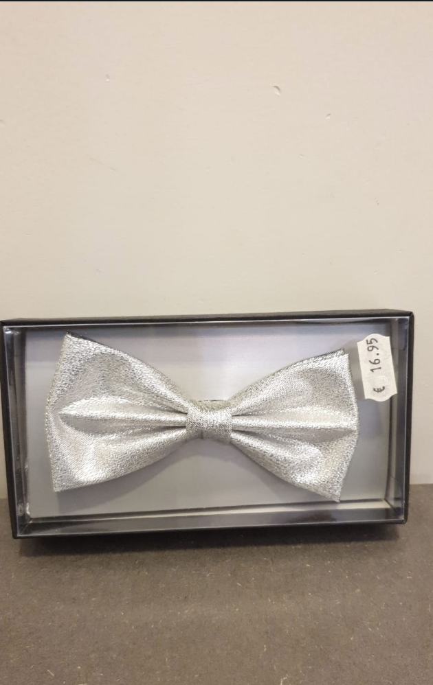 POLYESTER BOW TIE SILVER