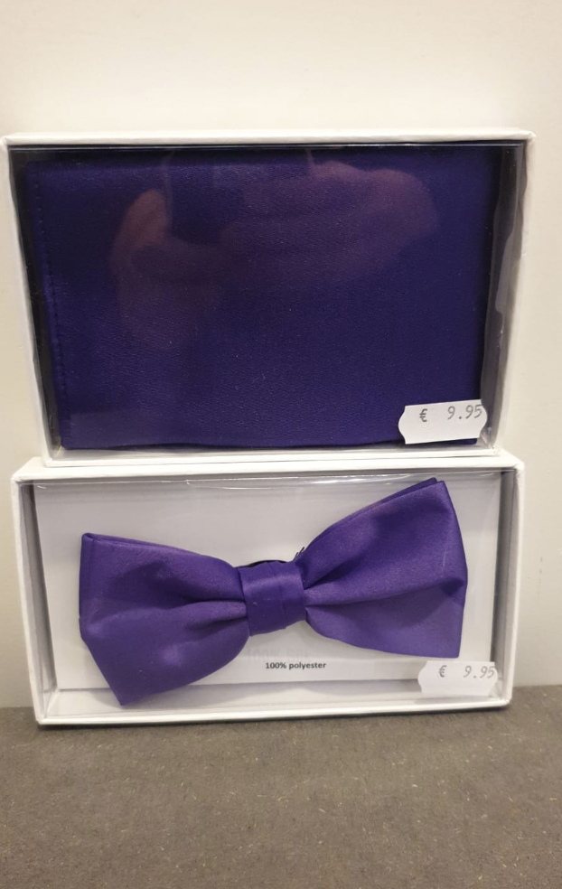 POLYESTER BOW TIE WITH HANDKERCHIEF PURPLE