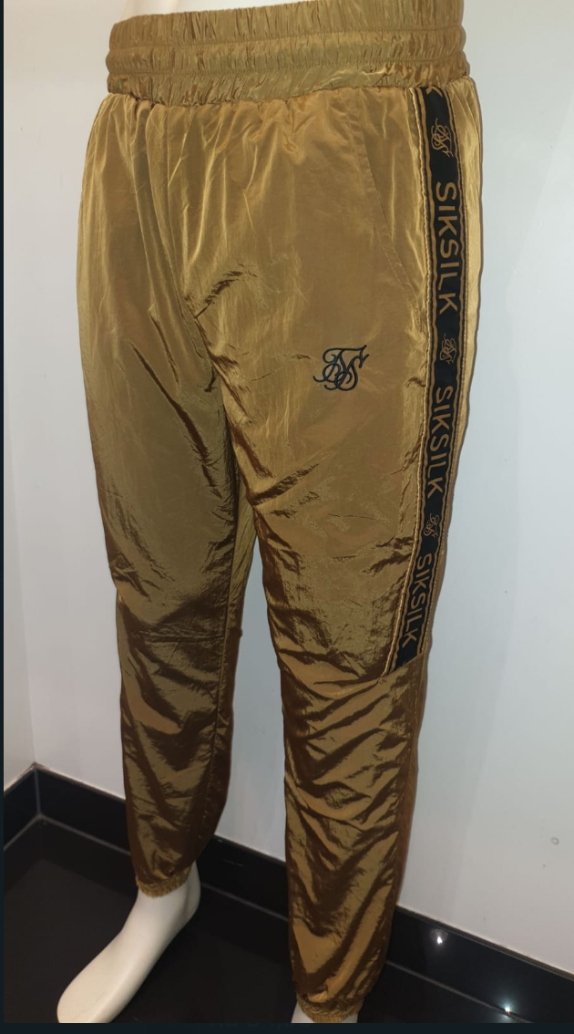 SIK SILK GOLDEN CRUSHED NYLON TAPPED TRACKPANTS
