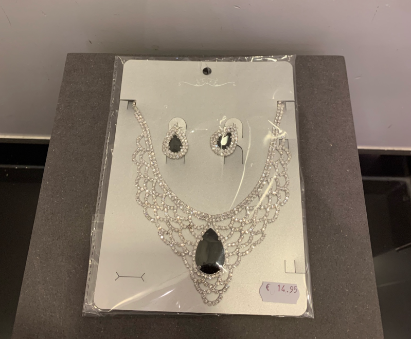 NECKLACE WITH EARRINGS PARIS SILVER/BLACK