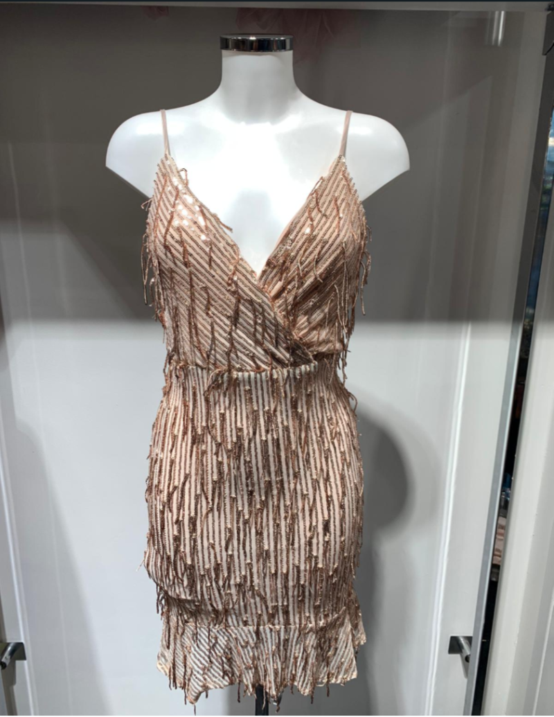 COCKTAIL DRESS CHAMPAGNE & SILVER