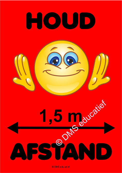 Sticker 'Houd afstand' Smiley (rood) - A5