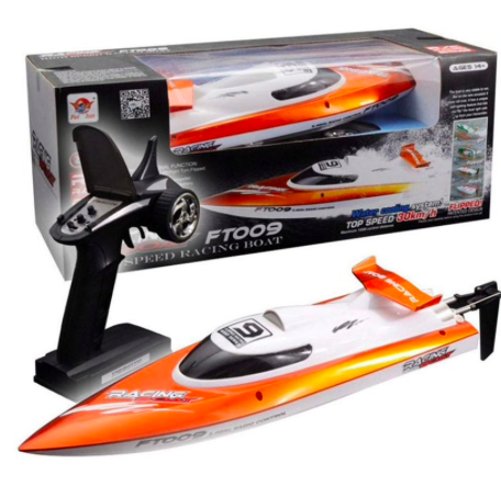 High speed RC boat (max 30km/h) orange incl transmitter (tested !)