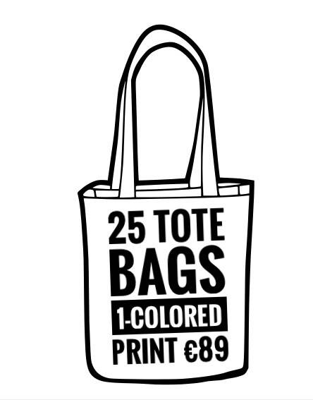 25 Tote bags + one-colored-print
