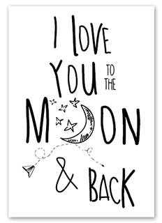Wenskaart - I love you to the moon and back