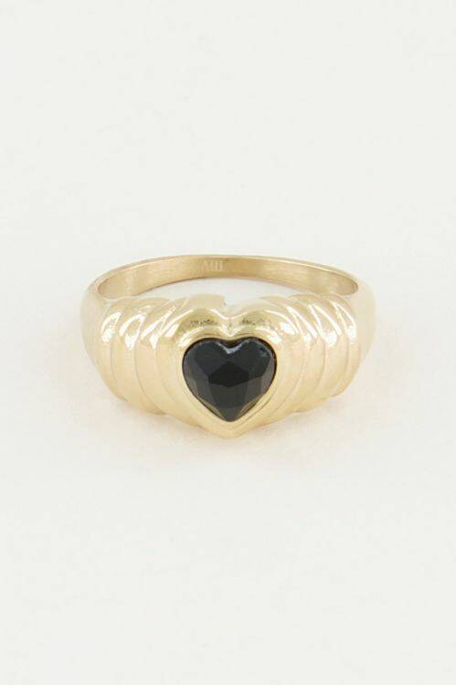 Ring Black Onyx hartje