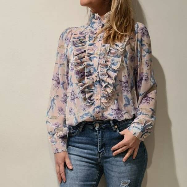 Blouse met ruches in roze/ lila