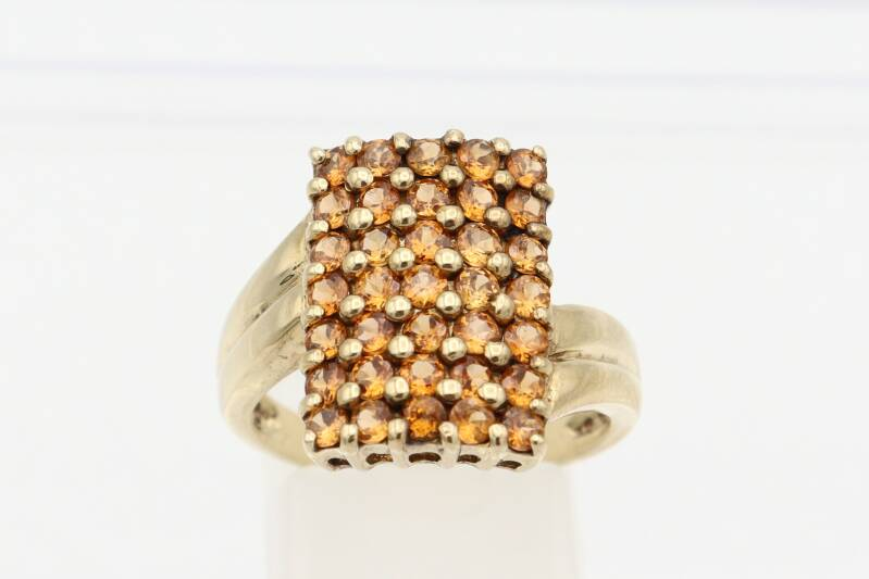 Vintage design ring met 35x citrien. Maat: 17.25. Nr: 2021/253
